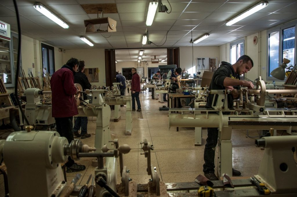 Training in the woodturning workshop